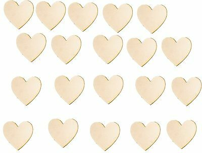 (20pc) Custom Cut MDF Wooden Love Heart Shapes 35mm Heigh 3mm Thick Wood Craft