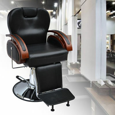 Heavy Barber Chair Salon Hydraulic Reclining Hairdressing Threading Shaving UK