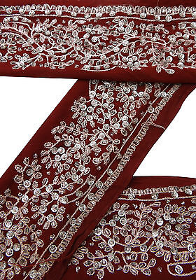 Vintage Indian Sari Border Used Embroidered Trim Sewing Maroon Ribbon Lace 1YD
