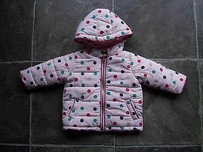BNWT Baby Girl's Pink Spotty Hooded Parka/Puffer Jacket/Jacket/Coat Size 00