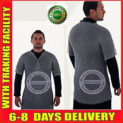 Aluminium Chainmail Shirt Butted Aluminum Chainmail Haubergeon Medieval Armour