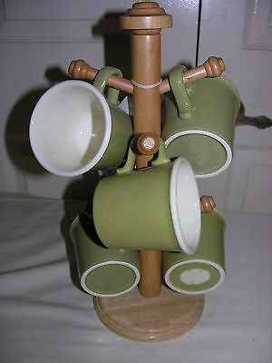 Vintage Set Of 6 Light Green Coffee Cups Mugs with Wooden Stand Holder