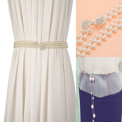 Fashion Women Lady Girl Pearls Beads Chain Waistband Crystal Bow Tie Belt Buckle