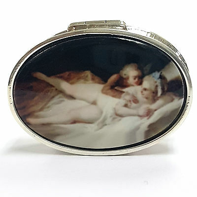 Oval Enamel Erotic Nude Victorian Style Scene Pill Box 925 Sterling Silver