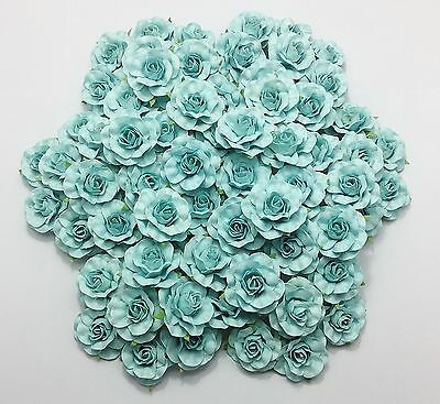 50 pcs Blue Mulberry Paper Roses 35 mm Wedding Flowers Celebrations Decorations