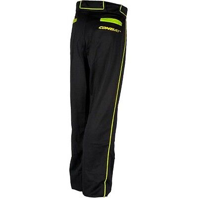 Combat Stock Baseball Pants w/Piping - Black with Lime Piping - Youth and Adult