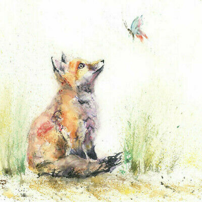 HELEN ROSE Limited Print of my FOX n BUTTERFLY original watercolour painting