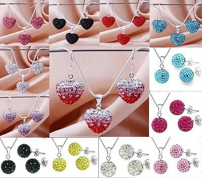 New Genuine Pure CZ Crystal 18K Fashion Jewelry 925Silver Sets Necklace/Earrings