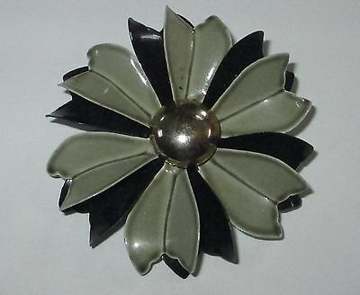 FLOWER POWER retro vintage ENAMEL FLOWER brooch painted pin black gray VGUC
