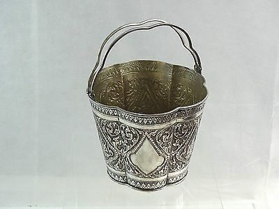 OUTSTANDING SILVER ICE BUCKET EASTERN ORIENTAL BARWARE HAND CHASED sterling