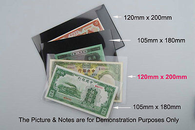 "5pcs NEW ""120mm x 200mm"" Banknote Holder, Clear Sheet Underlayed FREE POSTAGE"