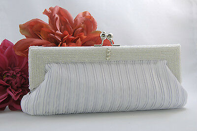 Silver Satin Bridal Beaded Evening Bag EB 304