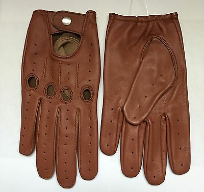 Driving Leather gloves Men's Brown Cognac Tan