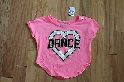 NWT Justice Pink Dance Heart Wild About Music Top Shirt Size 5