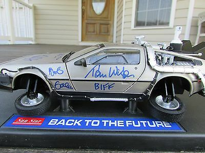 Michael J Fox & Back to the Future Cast Autographed 1:18 DieCast FLYING DeLorean