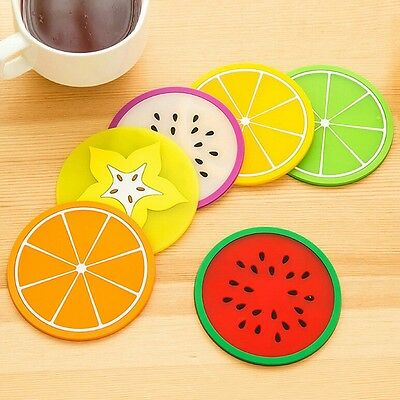 Coffee Cup Mug Beverage PVC Holder Coaster Tableware Fruit Slice Placemat Crafts