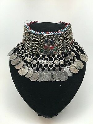 Vintage Afghan Kuchi Tribal Jingle Coins Chain Boho ATS Choker Necklace,KC473