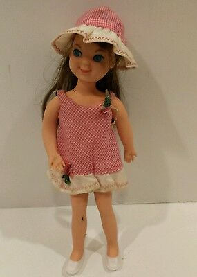 """1966 Mattel 6"""" Tutti Barbie Doll BROWNETTE Hair Color in Original Outfit w/shoes"""