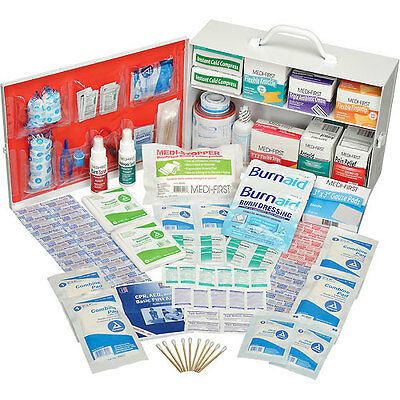 Global Industrial First Aid Kit - 2 Shelf Steel Cabinet, ANSI Compliant, 50-7...