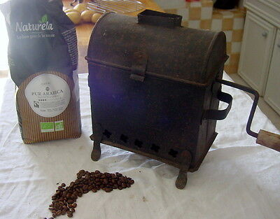 French Antique Barrel Coffee Roaster with Chimney