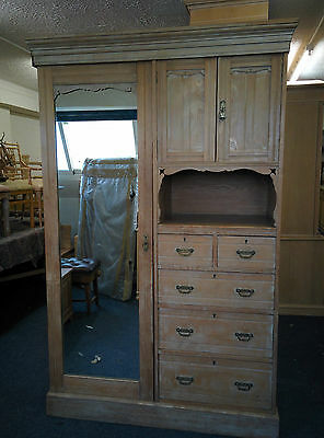 Antique Traditional Wardrobe Cabinet made of Limed Oak Solid Wood w/ Mirror - EG