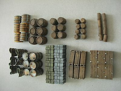 Set of BOXES BARRELS CHESTS TRUNKS - 64 pieces -wargame scenery  28 mm Resin