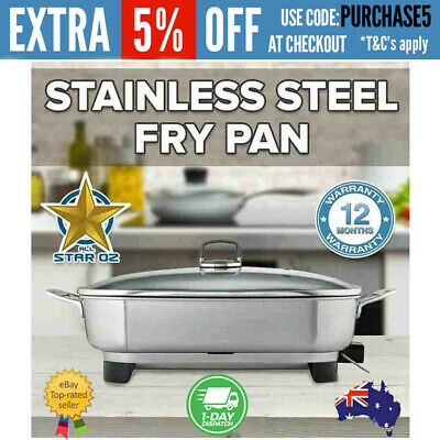 Stainless Steel Electric Fry Pan Wok Cooking Pot Sunbeam Fryer Roaster Glass Lid