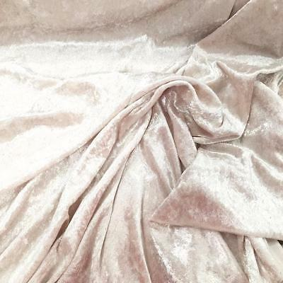Premium OYSTER Crushed Velvet Fabric Material 150cms sold by he metre