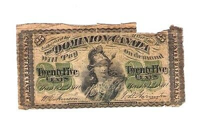 Dominion of Canada 1870 25 Twenty Five Cents Fractional Currency Note PM252