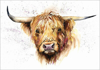 HELEN ROSE Limited Print of my HIGHLAND COW watercolour painting
