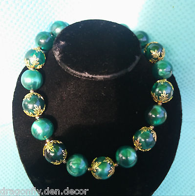Baroque Large Marbled Green Lucite Beads w Golden Filigree Caps Chunky Necklace
