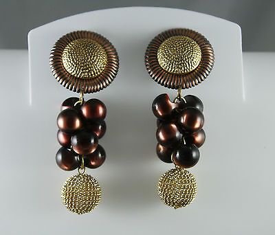 Vintage Sylvie Germain Modernist Clip Earrings Cluster Dangle Metal Thermoset