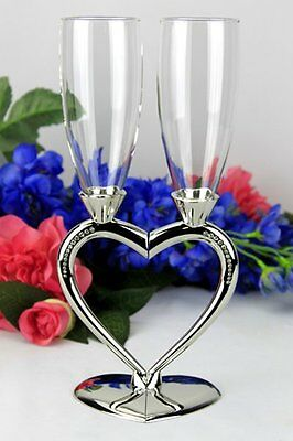 Twin Heart Toasting Glasses- Wedding, Engagement Gift