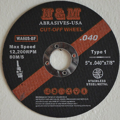 "25pcs 5-inch x.040""x7/8"" H&M ABRASIVES Cut-off Wheels Cutting Discs Type 1"