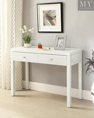 REFLECTIONS White Glass Mirrored Console Hallway Dressing Table 2 Drawer