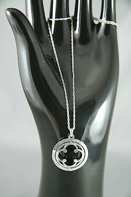 Vintage Celtic Plated Silver Pendant on 19 inch Sterling Rope Chain Hammered