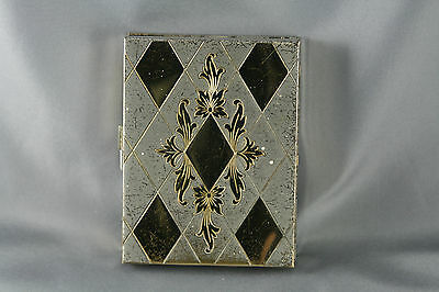 Vtg 40s Compact Cigarette Case Combo Engraved Gold Silver Tone Flocked Lid