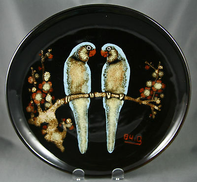 Vintage 80s Chinese Pottery Plate Twin Blue Parrots Perching Signed and Dated
