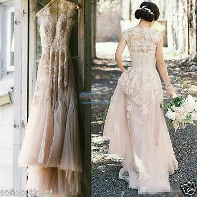 Sexy Vintage Blush Tulle Wedding Dresses Cap Sleeve Appliques Lace Bridal Gowns