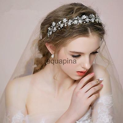 Bridal Flower Crystal Rhinestone Wedding Headband Tiara Crown Jewelry Silver