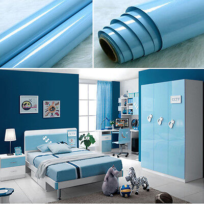 YAZI Blue Self Adhesive Waterproof Vinyl Home Kitchen DIY Wallpaper Room Decor