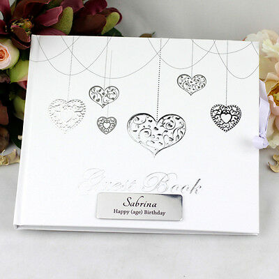 Personalised 21st Birthday Guest Book - Hearts - Add a Name & Message