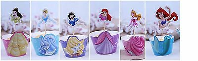 24 Pcs Disney Princess Cupcake Toppers & Wrappers / Birthday Party