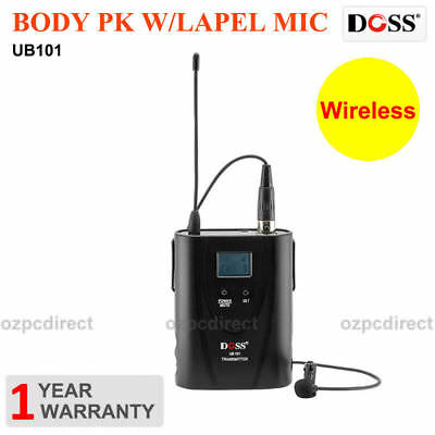 Doss UB101 Wireless Body Pack Lapel Transmitter Mic Microphone For uhf101 uhf401