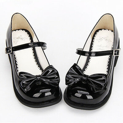 Gothic Lolita Femmes chaussure arc bow shoes plates ballerines cosplay noir