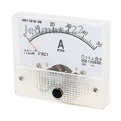 1Pcs DC 50A Analog Panel AMP Ammeter Gauge 85C1 White 0-50A DC