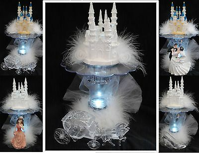 LIGHTED Bridal Fairytale Wedding Cake Topper Quince Castle LIGHT