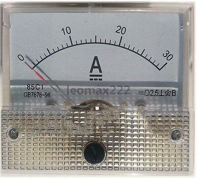 1×DC 30A Analog Panel AMP Current Meter Ammeter Gauge 85C1 White 0-30A DC