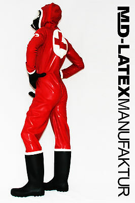 "MD-Latex - ""Klinik"" 0,9mm Latexanzug Latex Rubber Latexoverall Ganzanzug"