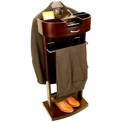 Men's Suit Valet Stand Clothes Storage Shoe Organizer Drawers Charger Outlet